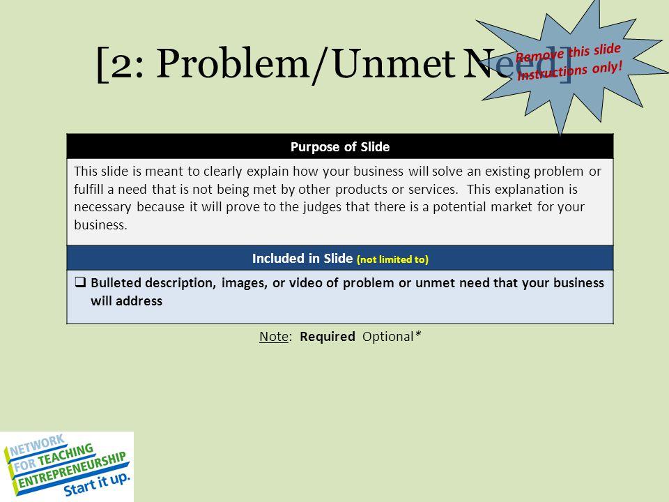 [2: Problem/Unmet Need]